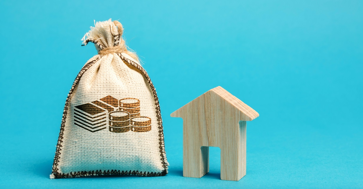 Money bag and wooden house.