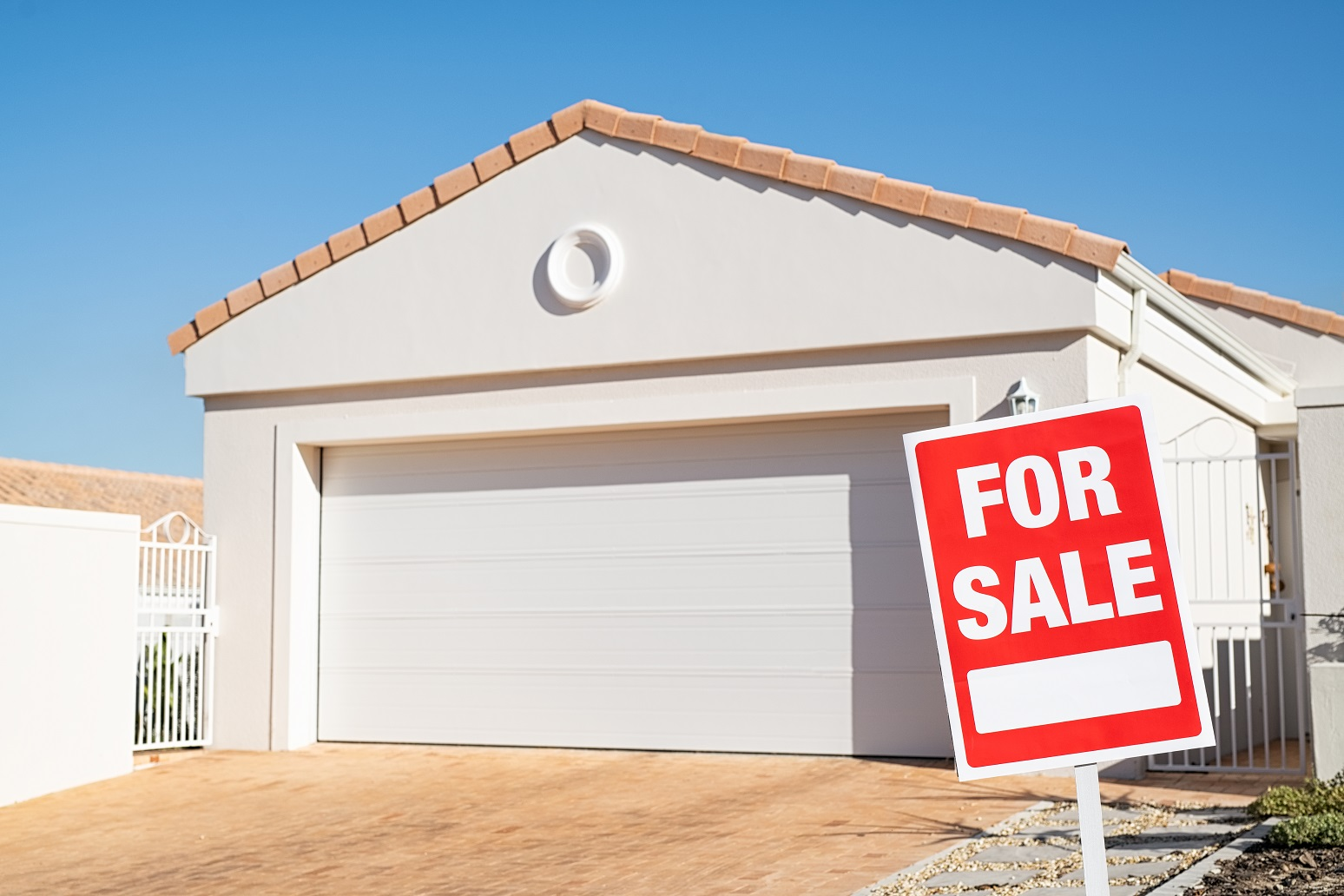 Real estate house with for sale sign